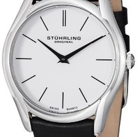 Stuhrling Original Men's 434.33152 Classic Ascot Stainless Steel Watch with Black Leather Band