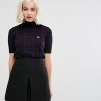 Fred Perry Check Print Turtle Neck Knit Jumper at asos.com