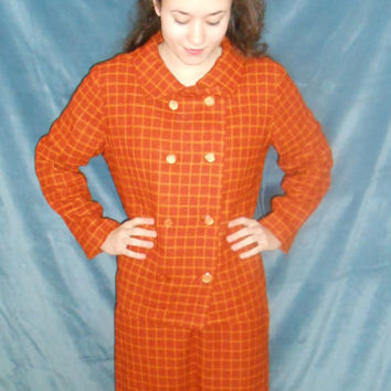 Vintage Plus Size 1960s Plaid Skirt Suit