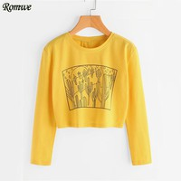Cute Yellow T shirt Cactus Print Funny Tee Autumn Long Sleeve Women Tops Spring Fashion Casual Basic T shirt