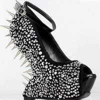 "Sexy 5.5"" Wedge W/ Fully Spiked Back Peep-Toe Shoes #BP646-VIOLA"