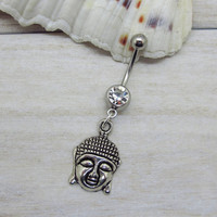 Antique silver buddha belly button ring, buddha belly button jewelry, buddha navel jewelry, buddhist body jewelry,unique gift