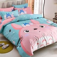 New2015 Unique Neighbour Totoro Bedding Set PINK 4pc Queen King Size Cotton RARE