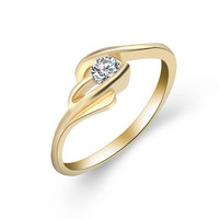 Famous Brand Jewelry Gold Plated with Cubic Zirconia Unique Shaped Ring for Women Wedding Size 5- 10