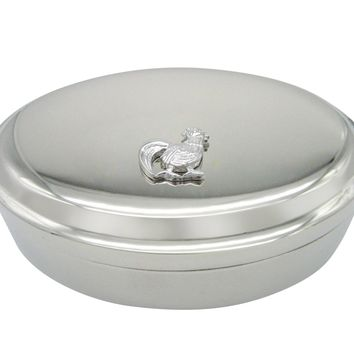 Silver Toned Chicken Bird Pendant Oval Trinket Jewelry Box