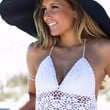 I'm Gonna Soak Up The Sun Crochet White Crop Top
