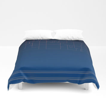 Digital Dark Navy Blue Ombre Fine Lines Duvet Cover by Sheila Wenzel
