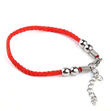 Red String Protective Charm Bracelet Hand Chain Four Beads