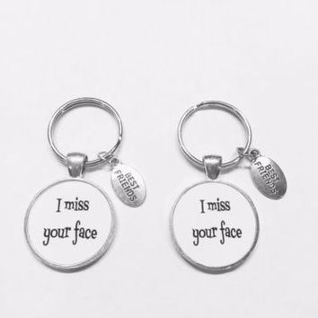 2 Keychains I Miss Your Face Best Friends Friend Long Distance Gift Set