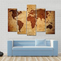 Grunge Map Of The World Multi Panel Canvas Wall Art