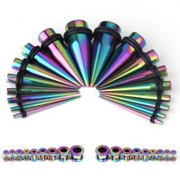 BodyJ4You Gauges Kit 18 Pairs Rainbow Stainless Steel Tapers & Tunnels 14G 12G 10G 8G 6G 4G 2G 0G 00G 36 Pieces
