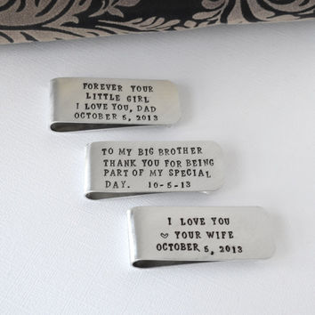 Wedding Set Money Clip Gifts- Groom, Father of the Bride, Groomsman