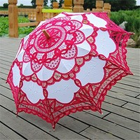 Saitec® New Fashion Rose Lace Parasol cotton bridal umbrella photography fan wedding decoration vintage parasols for weddings