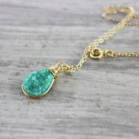 Green Druzy Necklace, Wire Wrap Necklace, Gold Fill Necklace, Drusy Quartz Necklace, Turquoise Gemstone Necklace, Teardrop Pendant Necklace