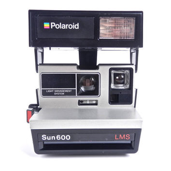 Vintage Polaroid Camera - Black & Silver Polaroid Sun 600 LMS / Bright Lights