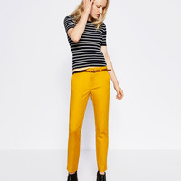 CHINO STYLE TROUSERS WITH BELT - NEW IN-WOMAN | ZARA United Kingdom