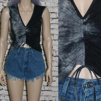 90s Mesh crop top tie dye tank black grey grunge hipster punk festival gypsy cyber goth Y2K XS S cropped shirt Club Kid Rave Boho Hippie
