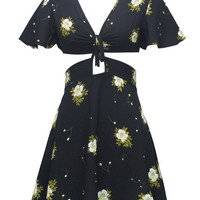 Black Floral V-neck Cape Cropped Top And High Waist Skirt