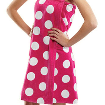 Terry Womens Bath Wrap Towels Cotton Polka Dot Cover Ups for Ladies Fuchsia