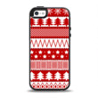 The Red and White Christmas Pattern Apple iPhone 5-5s Otterbox Symmetry Case Skin Set