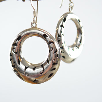 Taxco Sterling Silver Earrings Round Tribal Filigree Dangling Design