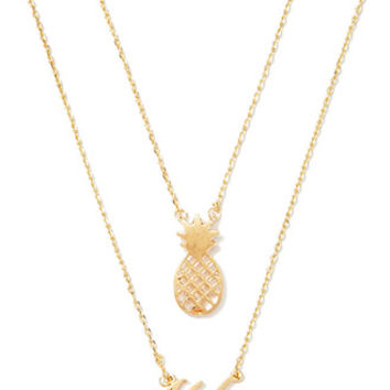 Aloha Pineapple Charm Necklace Set