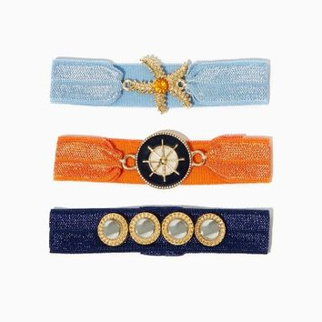 Treasure Tresses Hair Tie Set | Fashion Hair Accessories - Nautical Chic | charming charlie