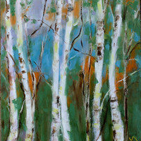 BIRCH TREES - 11 x 14 - Original Oil Painting - Honeystreasures - Landscape - White Trees - Cottage Chic - Home Decor - Wall Art - Hanging