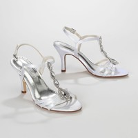 Dyeable T-Strap High Heel Sandal with Jewel Detail - David's Bridal