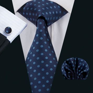 LS-1495 Barry.Wang Classic Men`s Tie 100% Silk Blue Polka Dot Necktie Hanky Cufflink Set For Men`s Wedding Party Business
