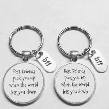 Best Friends Pick You Up When The World Lets You Down Bff Gift Keychain Set