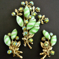 Green Stripe Milk Glass Brooch Earrings Set ABs Vintage Floral