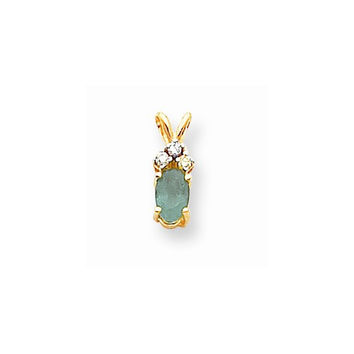14k Yellow Gold Oval Emerald Diamond Pendant