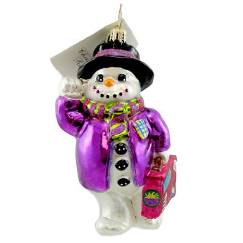 Christopher Radko GOIN MY WAY? Blown Glass Ornament Snowman Christmas