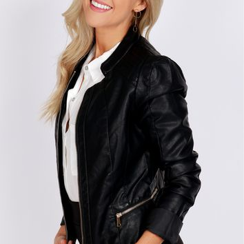 Vegan Leather Moto Jacket Black