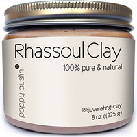 Rhassoul Clay Hair & Facial Mask (Ghassoul) by Poppy Austin - Voted Best Deep Pore Facial Cleanser, Blackhead Remover & Pore Minimiser 2016 - 100% Organic All Natural Face Wash Powder & Clay Mask