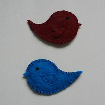 pink Felt Bird Ornaments for Jen with added ribbon loop (set of 2)