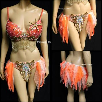 Salmon Pink Sequin Gold Scale Mermaid Dance Costume Rave Bra Halloween