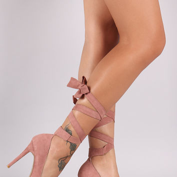 Qupid Suede Pointy Toe Leg-Wrap Stiletto Pump