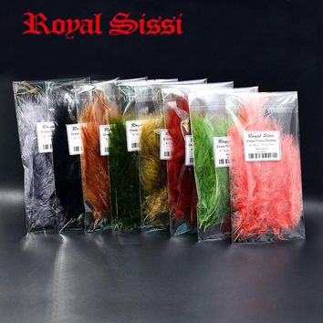 Royal Sissi 120pcs Multiple Colors assorted Turkey Marabou feather cheap Blood Quill Woolly Bugger Fly Tying feather material