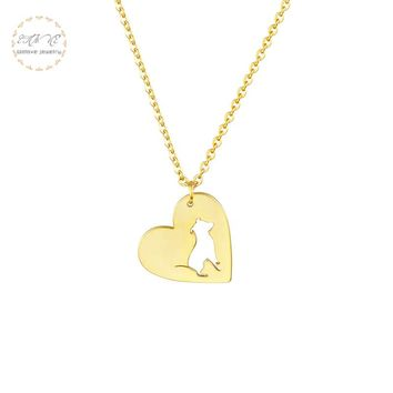 Gold Color French Bull Dog Pendant Necklace Women Fashion JewelryStainless Steel Chain Love Heart Animal Lover's Gift