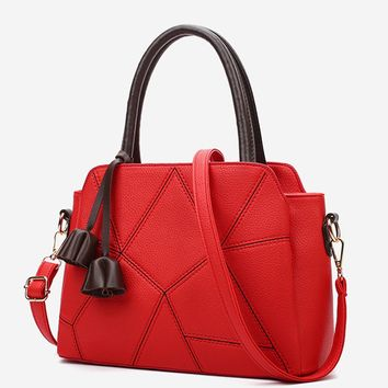 Casual Contrast Stitching Geometric Shoulder Bag