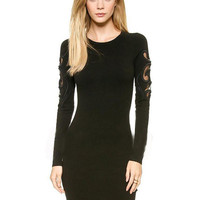 Black Long Sleeve Cut-Out Bodycon Mini Dress