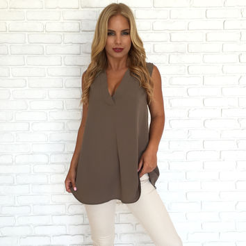 Mocha Latte Sleeveless Blouse