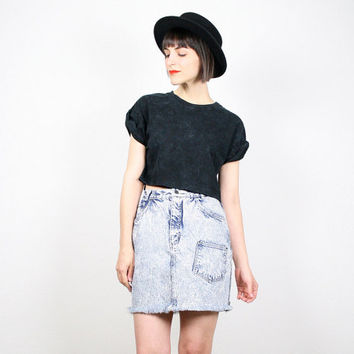 Vintage Denim Skirt Mini Skirt Jean Skirt Acid Wash Denim High Waisted Skirt Gitano Frayed Cut Off New Wave 1980s 80s Punk Skirt M Medium