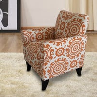 Orange Floral Accent Chair with Birch Wood Legs (Single)