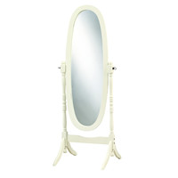Antique White Solid Wood Oval Cheval Mirror