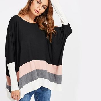 Color Block Striped T-shirt Women Boat Neck Long Sleeve Casual Tee Stretchy Fall Shirt
