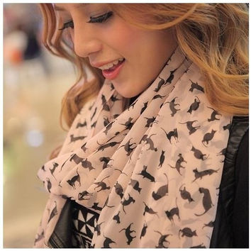 Fashion Noble Lady cat design muffle Shawl scarf = 1957942980