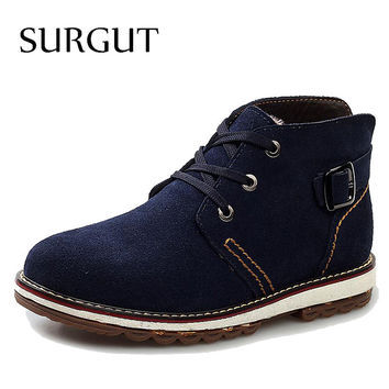 SURGUT Brand High Quality New Fashion Genuine Leather Men's Boots British Style Solid Plain Short Boot Winter Men Casual Shoes